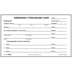 101R - Emergency Procedure Card